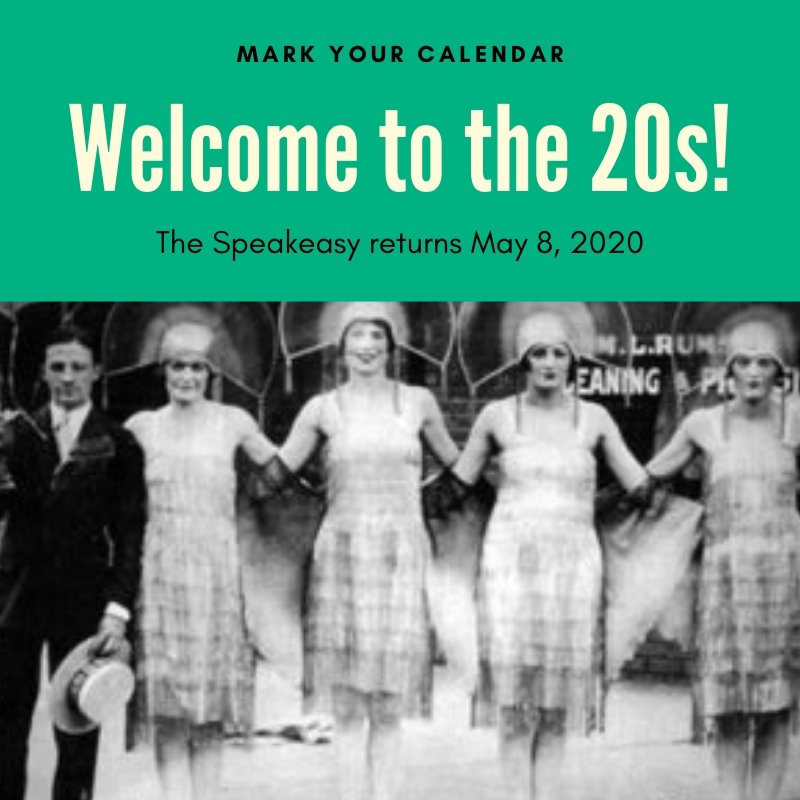 "Image of flappers that says ""Welcome to the 20s!"""