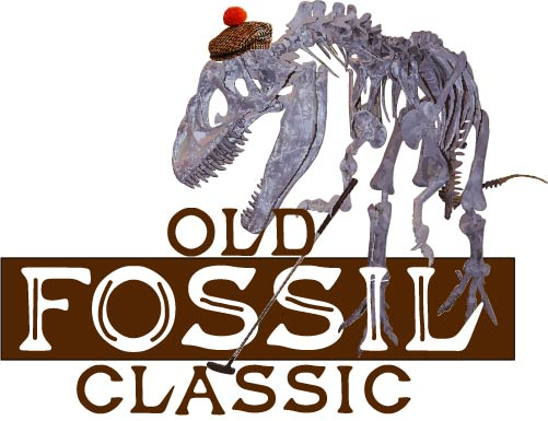 Logo for the old fossil classic, with a dinosaur skeleton golfing
